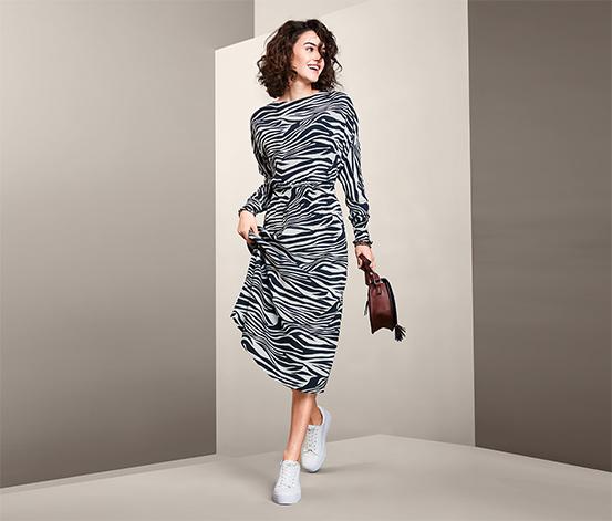 Damska sukienka midi z długimi kimonowymi rękawami, z motywem pasków zebry