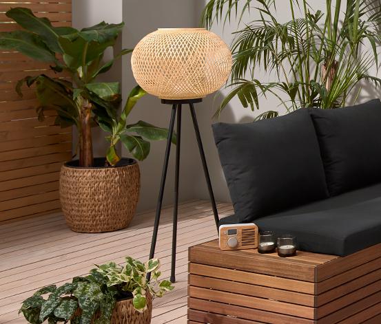 LED-Stehleuchte »Dreibein« mit Bambusgeflecht