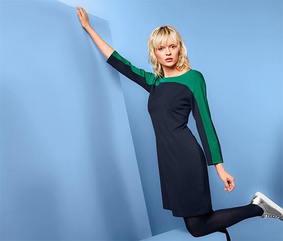 Női jerseyruha, sötétkék/zöld