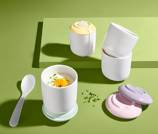 Porcelánové hrnky na přípravu vajec ve vodní lázni, 4 ks