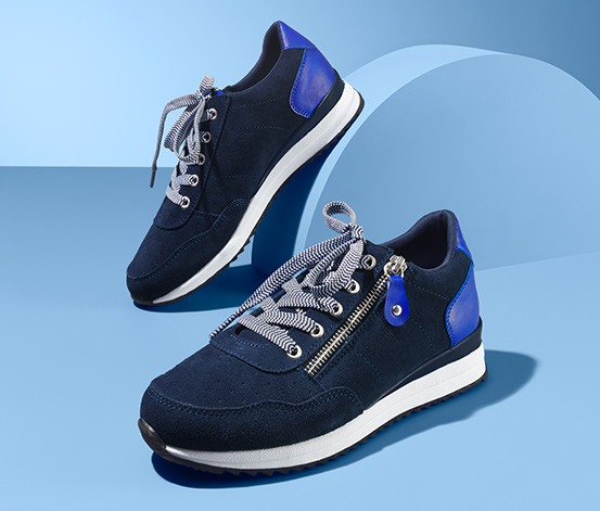 Damskie buty typu sneakers, z granatowej skóry welurowej
