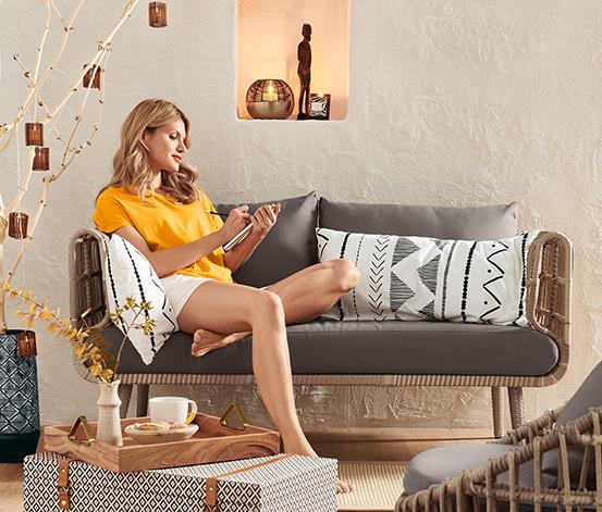 2,5-Sitzer-Sofa aus Polyrattan