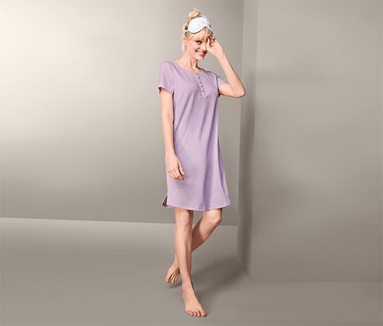 Damska koszula nocna z krótkim rękawkiem, liliowa nakrapiana