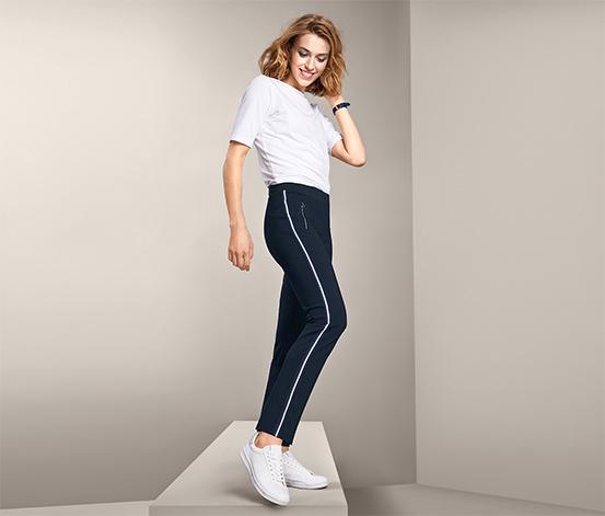 Damskie spodnie ze streczu o długości do kostek, z lampasami