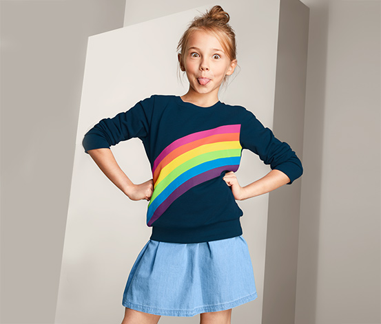 Dziewczęca bluza dresowa z motywem tęczy
