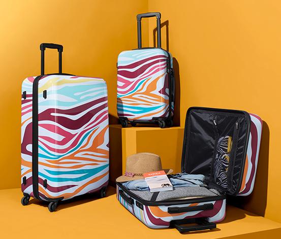 Keményfedeles bőrönd, zebramintás, színes, kicsi