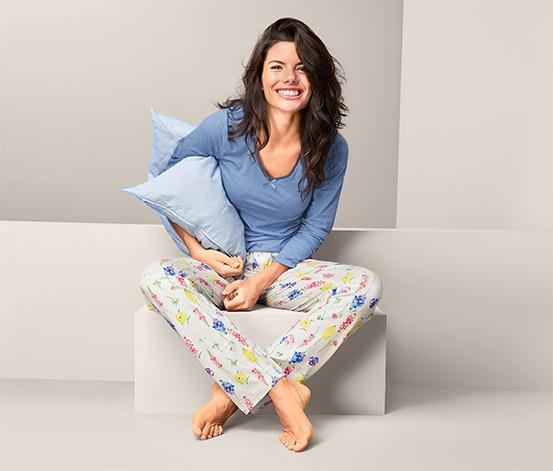 Damska piżama z długim rękawem i spodniami z długimi nogawkami