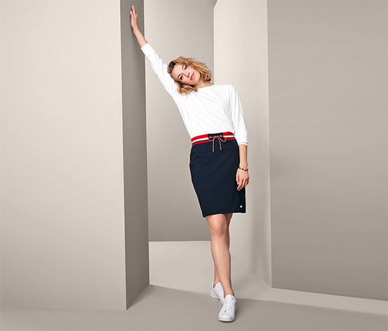 Damska spódnica dresowa, granatowa z czerwono-białym akcentem