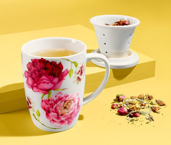 Šálek na čaj se sítkem a pokličkou