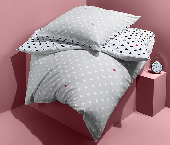 Kétoldalas jersey ágynemű, szívecskés, egyszemélyes