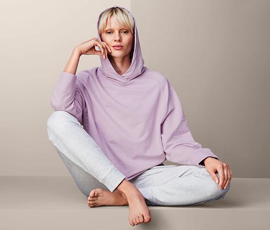 Damska bluza rekreacyjna z kapturem, liliowa