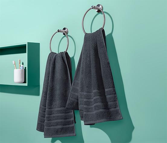 Ręczniki frotte, antracytowe, 2 sztuki