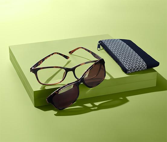 Okulary do czytania z nakładką przeciwsłoneczną, ze ściereczką i etui