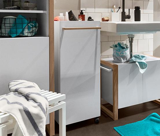 Szafka łazienkowa na kółkach, z szufladą i 2 dużymi schowkami