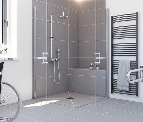 Breuer® Dusche »Elana 6«, Drehtür horizontal geteilt, Eckeinstieg