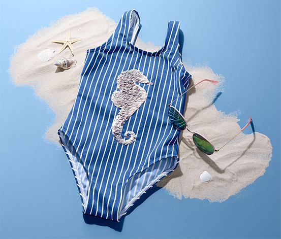 Lány fürdőruha, kék, flitteres