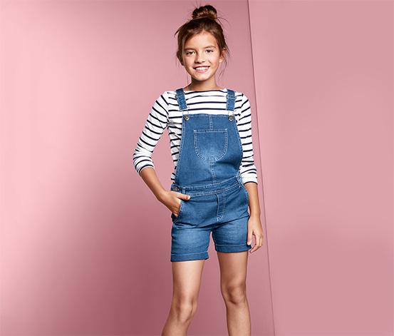 Lány kantáros farmer rövidnadrág