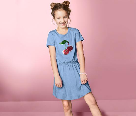 Lány jerseyruha, flitteres, kék
