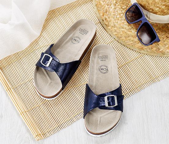 Pohodlné sandále v metalízovom vzhľade