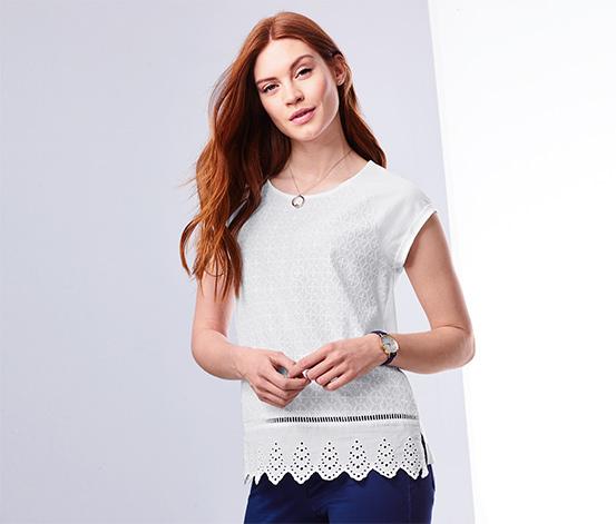 Bluzka z haftem ażurowym