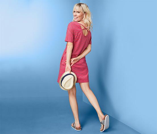 Organik Pamuklu Çizgili Jersey Elbise