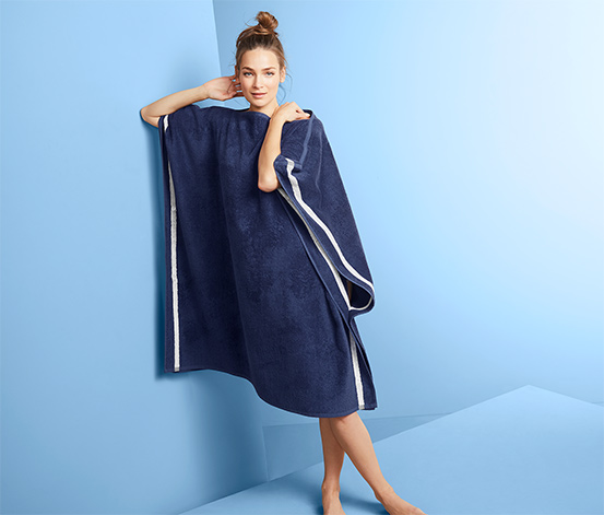 Duży ręcznik kąpielowy-poncho z tkaniny frotté, 2 w 1
