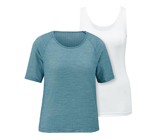 Biały top sportowy z niebieską koszulką z siatki, 2 w 1