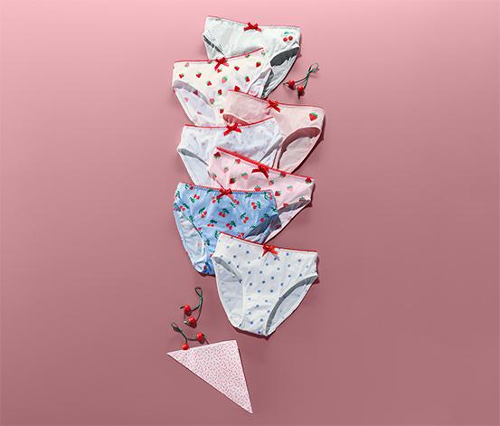 Figi dziewczęce w kolorowe wzory z dekoracyjną kokardką, 7  par