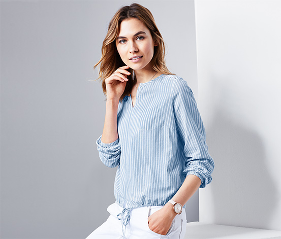 Mavi Beyaz Çizgili Organik Pamuklu Tunik Bluz