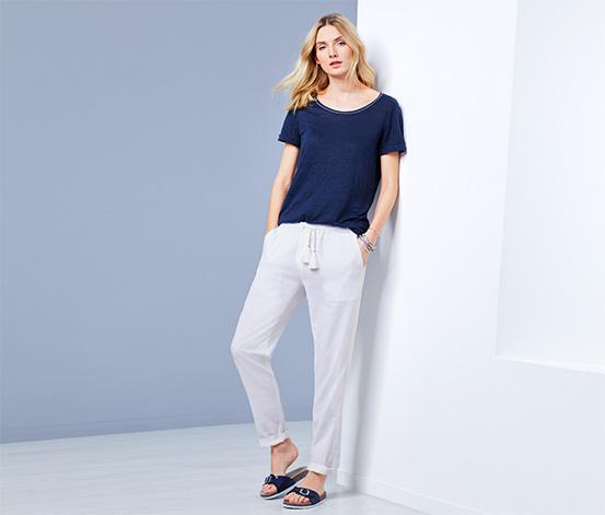 Kırık Beyaz Keten Pantolon
