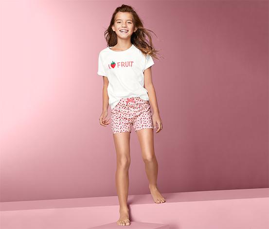 Piżama dziewczęca z krótkim rękawem i szortami w truskawki