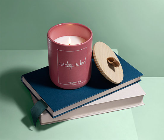Świeczka zapachowa w pojemniku ceramicznym z pokrywką