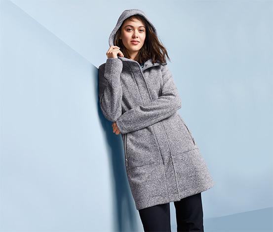 Damski płaszcz z dzianiny polarowej z kapturem