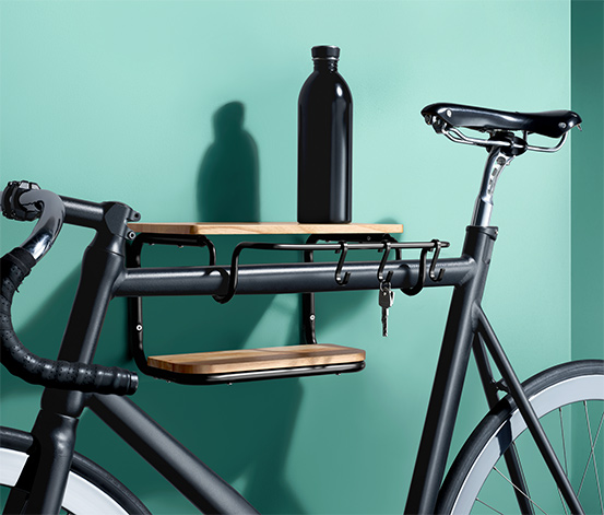 Regał ścienny i uchwyt na rower