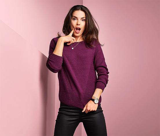Női kötött pulóver, lila