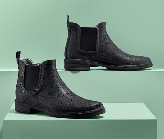 Krótkie, czarne kalosze z elastycznymi wstawkami