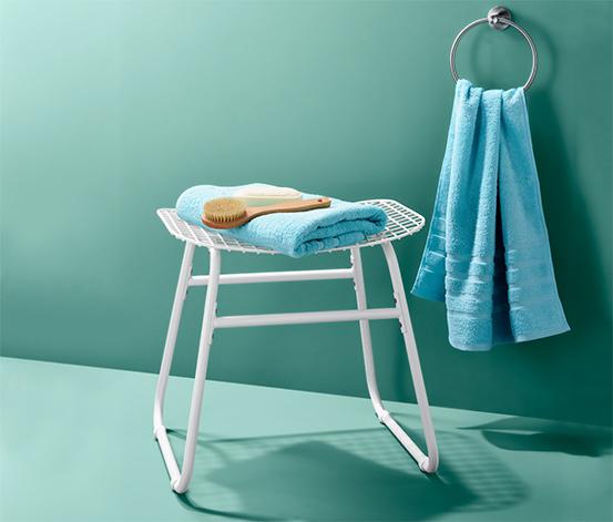 Fürdőszobai fém ülőke, fehér