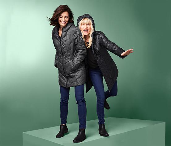 Női kifordítható steppelt kabát, fekete/szürke