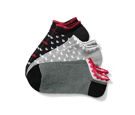 Stopki do butów sportowych z wzorami w serca, 3 pary