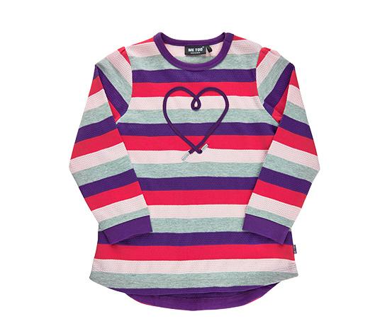 Dziewczęca tunika w paski i z haftowanym sercem
