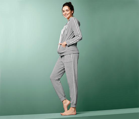 Szare spodnie rekreacyjne z nogawkami zakończonymi ściągaczem