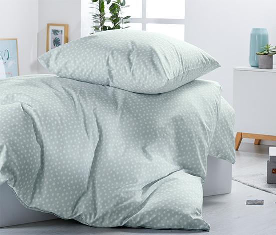 Pościel ze wzmocnionej bawełny w białe kropki, 135 x 200 cm / 80 x 80 cm