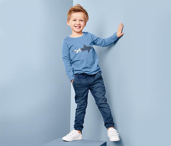 Chłopięce spodnie dresowe stylizowane na dżins