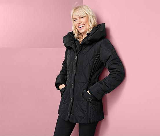 Női steppelt kabát, fekete