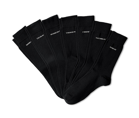 Ponožky s dny týdne, 7 párů