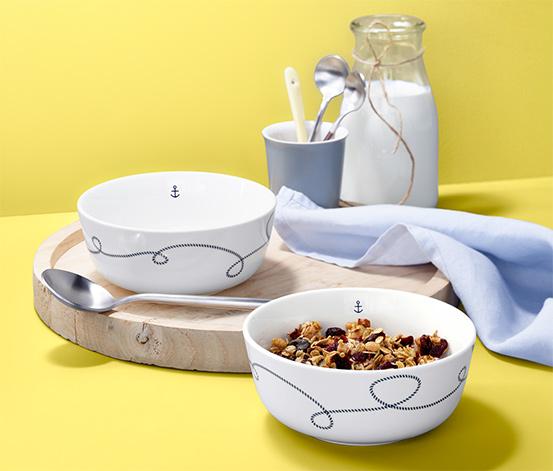 Miski ceramiczne z marynistycznym wzorem, 2 sztuki