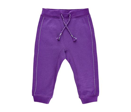 Dziecięce fioletowe spodnie dresowe z brokatowymi detalami