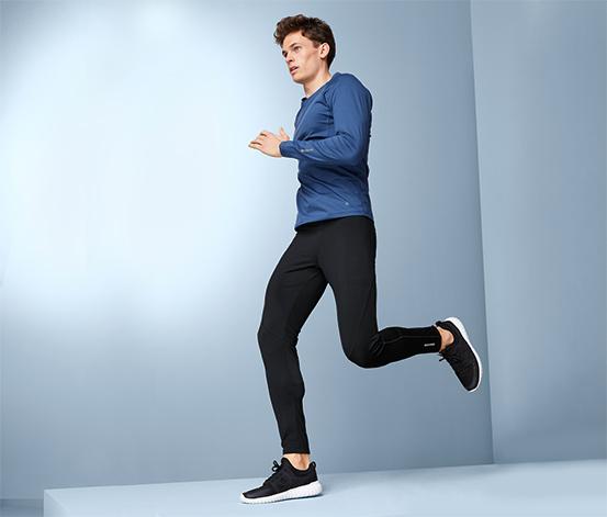 Férfi funkcionális termo futónadrág, fekete