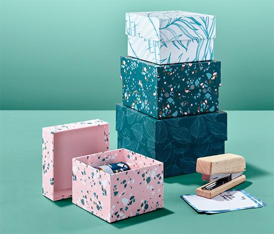 4 doboz szettben, mintás, különböző méret