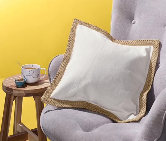 Poszewka na poduszkę z dekoracyjnym brzegiem z juty